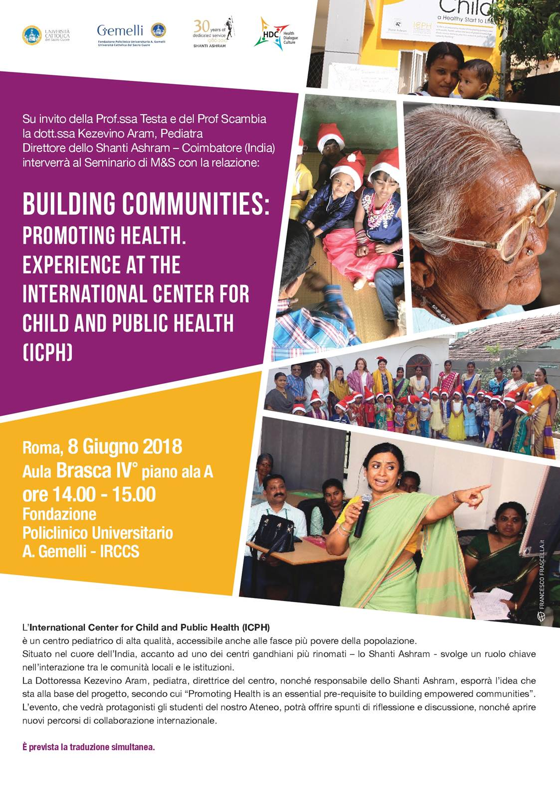 Seminario: Building Communities: Promoting Health. Experience At The International Center For Child And Public Health (Icph) - Aula Brasca 8 Giugno 2018 ore 14.00
